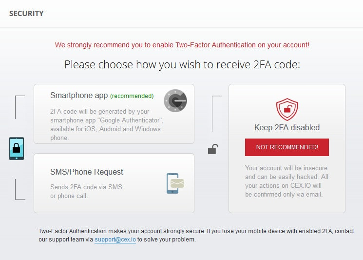 two-factor authentication on CEX.IO