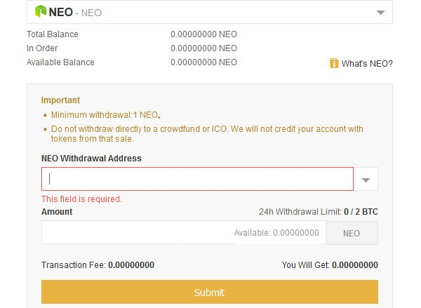 withdraw neo from binance