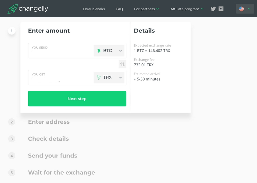 tron on changelly